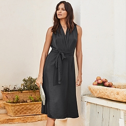 Washed Satin Wrap Midi Dress