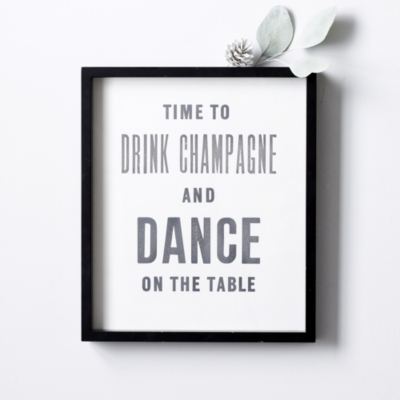 Drink Champagne Poster & Frame
