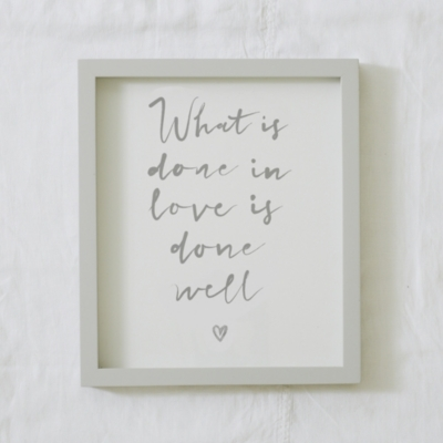 What is Done in Love Poster & Frame