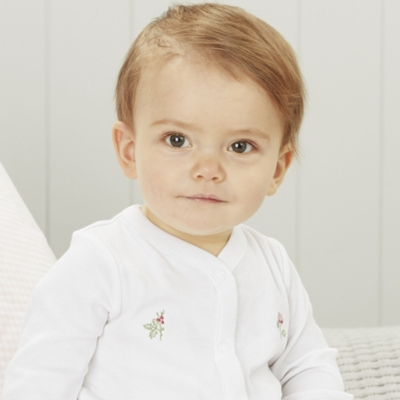 Winter Blossom Embroidered Sleepsuit