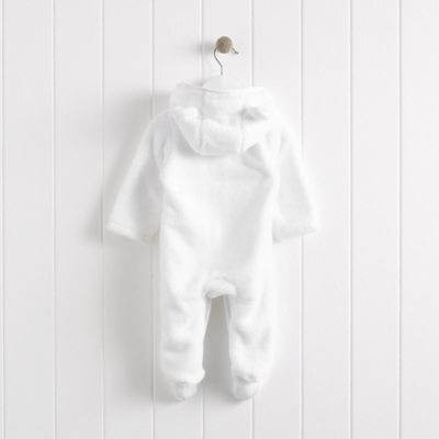 White Bear Fleece Romper