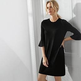 Wool-Cotton Flare Sleeve Dress