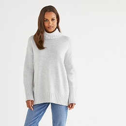 Wool Chunky Roll-Neck Sweater - Cloud Marl