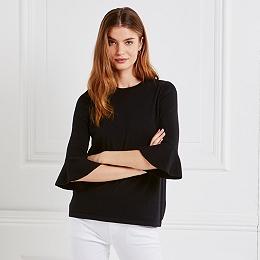 Wool-Cotton Flare Sleeve Sweater