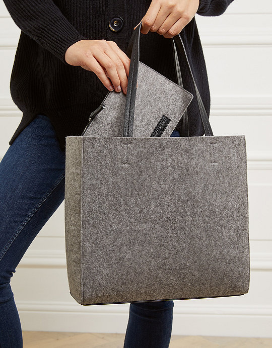 Felt Tote Bag With Zipped Pouch