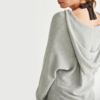 Waffle Stitch Hooded Sweater