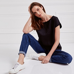 Linen Woven Front T-Shirt