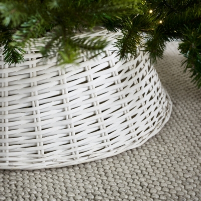 White - Wicker Christmas Tree Skirt Christmas Decorations The White