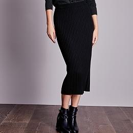 Wide Rib Knitted Midi Skirt