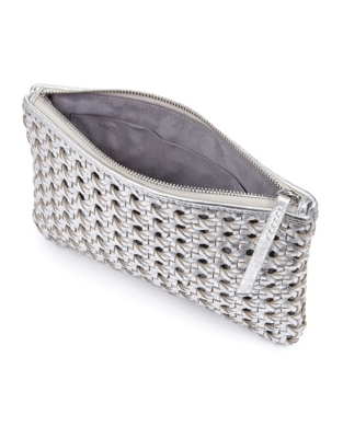 Leather Woven Clutch Bag