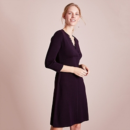 Wool Lace Insert Knitted Dress