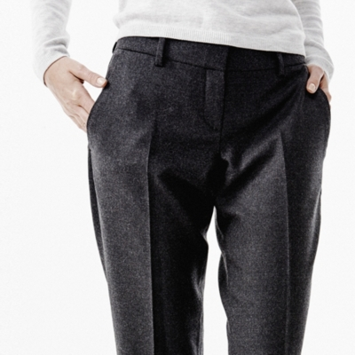 Wide Leg Trousers - Dark Charcoal Marl