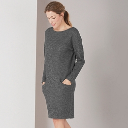 Wool Mix Seam Detail Dress