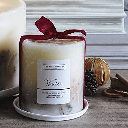 Winter Botanical Pillar Candle