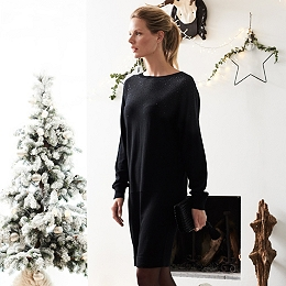 Wool Crystal Batwing Dress