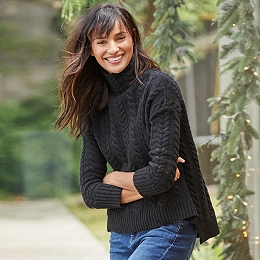 Wool Funnel Neck Cable Sweater