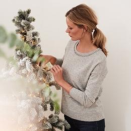 Wool Gem Neckline Sweater
