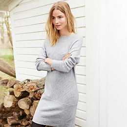 Wool Horizontal Rib Dress