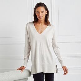 Wool Sequin Shoulder Sweater - Cloud Marl
