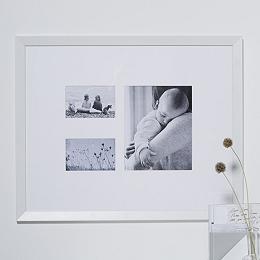 3 Aperture Wooden Frame - White