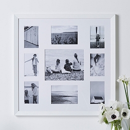 9 Aperture Fine Wood Photo Frame - White