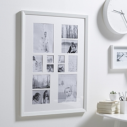12 Aperture Wooden Photo Frame - White
