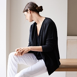Waterfall Ribbed Cardigan - Black