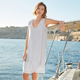 Linen Wrap Over Dress
