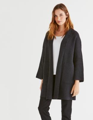 Wool Ribbed Sleeve Coatigan
