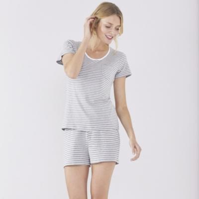 Wide Stripe Boyfriend T-Shirt and Short Set