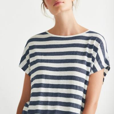 Linen Wide Striped T-Shirt