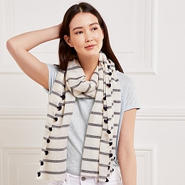 Wool-Silk Stripe Tassel Scarf