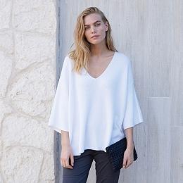 Wide Sleeve V Neck Sweater