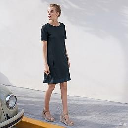Woven Trim T-Shirt Dress