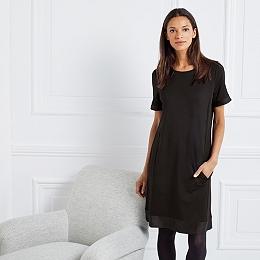 Trim Detail T-Shirt Dress - Black