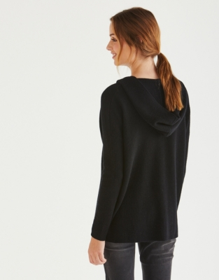 Wool V-Neck Hooded Sweater