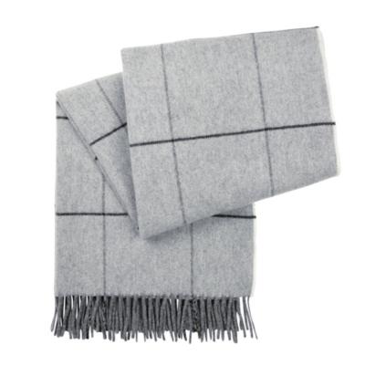 Wide Window Pane Wool Scarf
