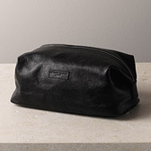 Leather Wash Bag - Black