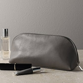 Leather Make-Up Bag - Taupe