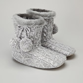 Cable Knit Booties - Grey