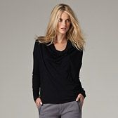 Cowl Neck Jersey Top - Black