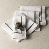 Velvet Trim Linen Napkins - Set of 4