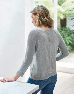 Zip Back Rib Sleeve Sweater