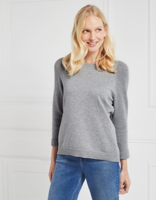 Zip Back Ribbed Sleeve Sweater