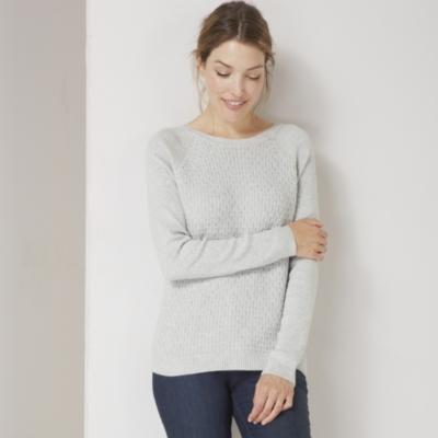 Zip Back Textured Sweater
