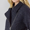 Zip Front Boiled Wool Jacket