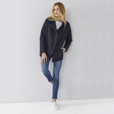 Zip Front Boiled Wool Jacket