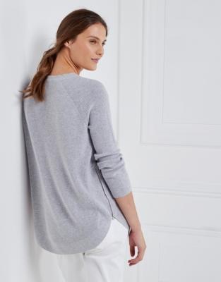 Zip Side Curve Hem Sweater - Pale Gray Marl