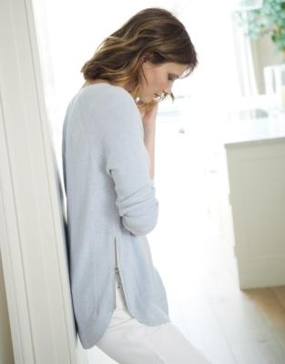 Zip Side Curve Hem Sweater - Pale Blue Marl