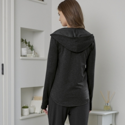 Zip Through Hooded Top - Dark Charcoal Marl